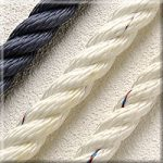 8mm 3 Strand Polyester Rope WHT 1m